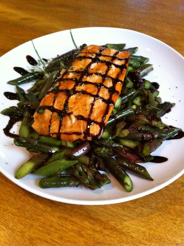 purple asparagus and balsamic salmon